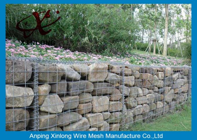Anti - Corrosion Gabion Rock Wall Cages , Hexagonal / Square Gabion Mesh Cages
