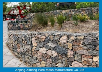 China Anti - Corrosion Gabion Rock Wall Cages , Hexagonal / Square Gabion Mesh Cages supplier