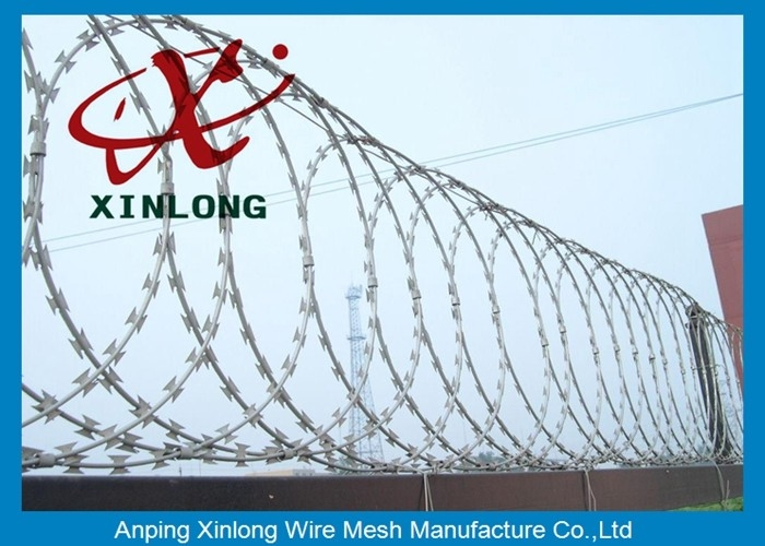Security Fencing Cross Razor Barbed Wire / Stainless Steel Razor ...