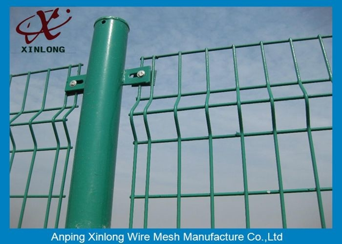 Green Vinyl Coated Welded Wire Mesh Fence Panels 3D Curved Hook Style