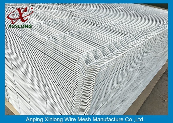 1800*2000mm 3D Wire Mesh Fence , White PVC Coated Mesh Fence