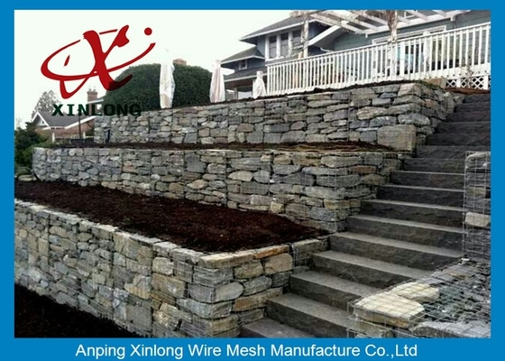 Cage Rock Gabion Wire Mesh , Containment Pvc Coated Gabion Baskets