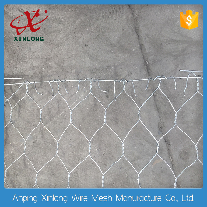 Galvanized Double Twisted Gabion Wire Mesh Panels For Preventing Rock Breaking